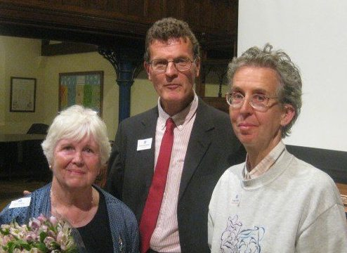 Sandy Walkington with his predecessor, Helen Bishop (left) and Maggy Douglas