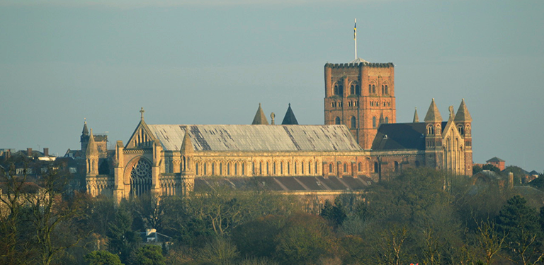 Distant view over treetops of St Albans Cathedral