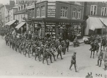 Military band at Peahen crossroads, c.1915 | HALS