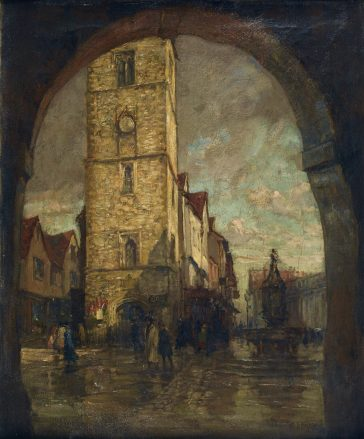 Street shrine on the Clock Tower (to left of ground floor window), c1919 Watercolour by H. Mitton Wilson | St Albans Museums