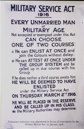 Information Poster about Military Services Act, January 1916