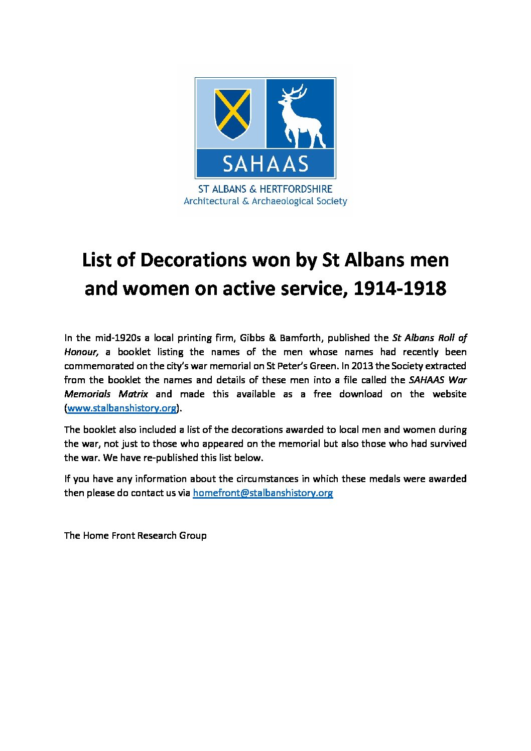 List of medals awarded to local men & women on active service, 1914-18
