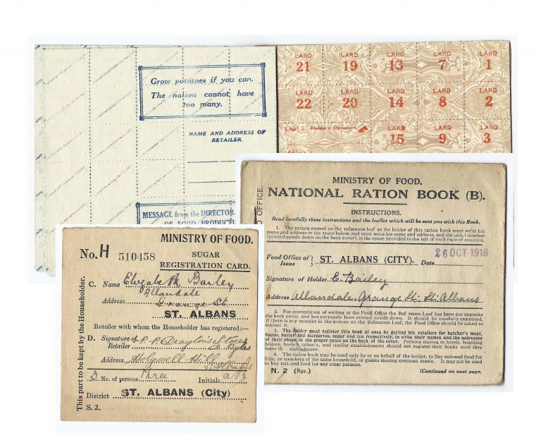 Collection of local ration cards   St Albans Museums