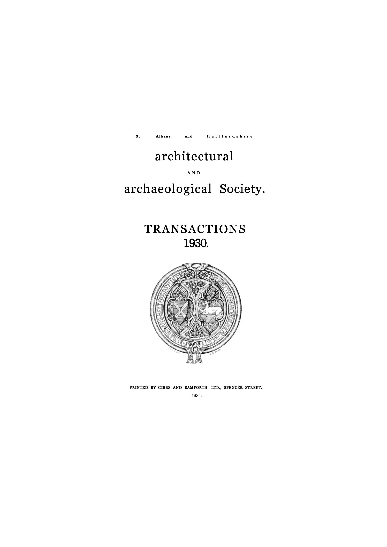 Transactions of the Society (1883-1961)