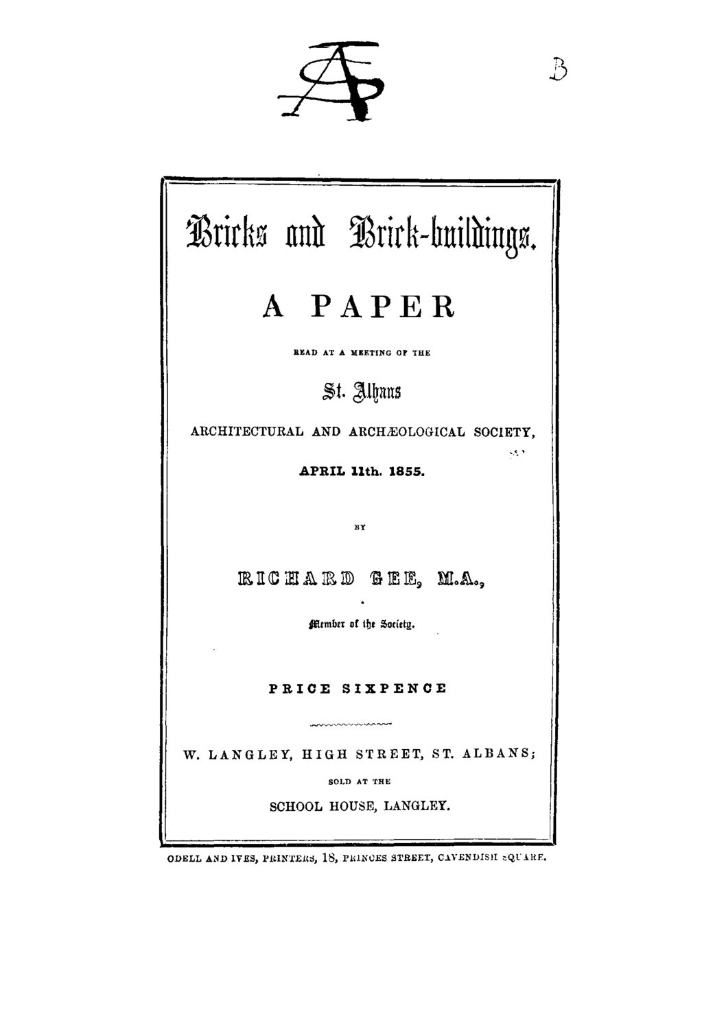 Early publications: 1855