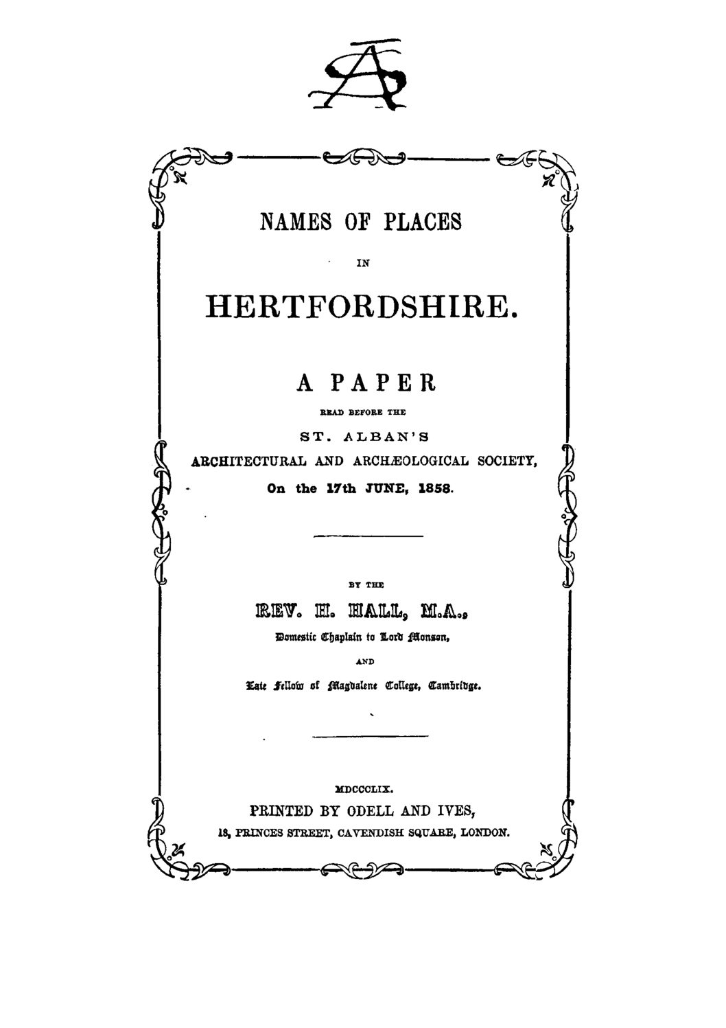 Early publications: 1859