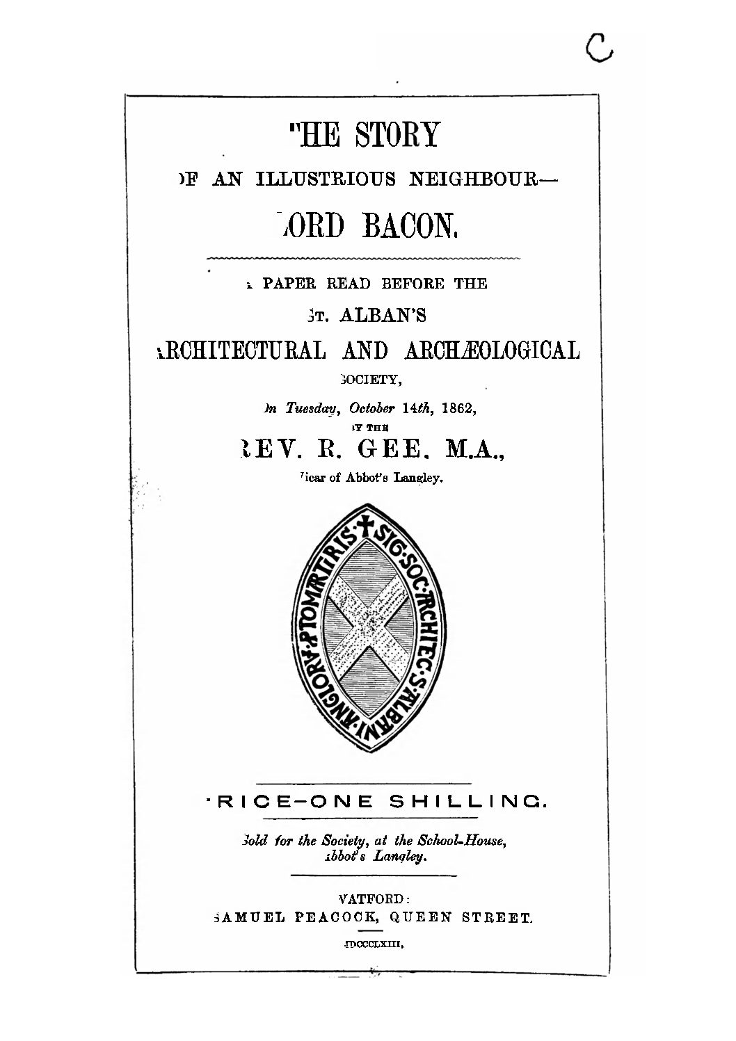 Early publications: 1863