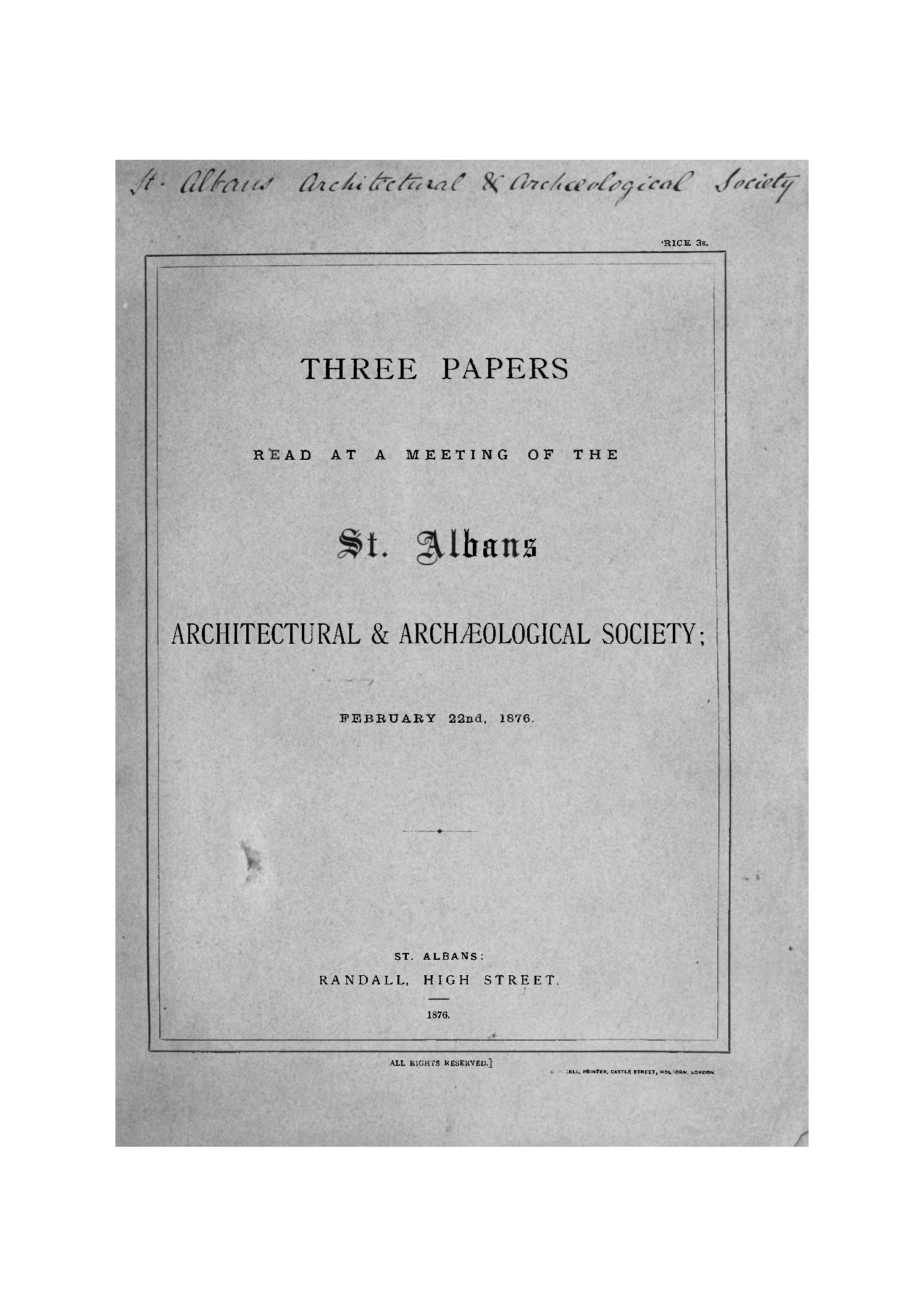 Early publications: 1876