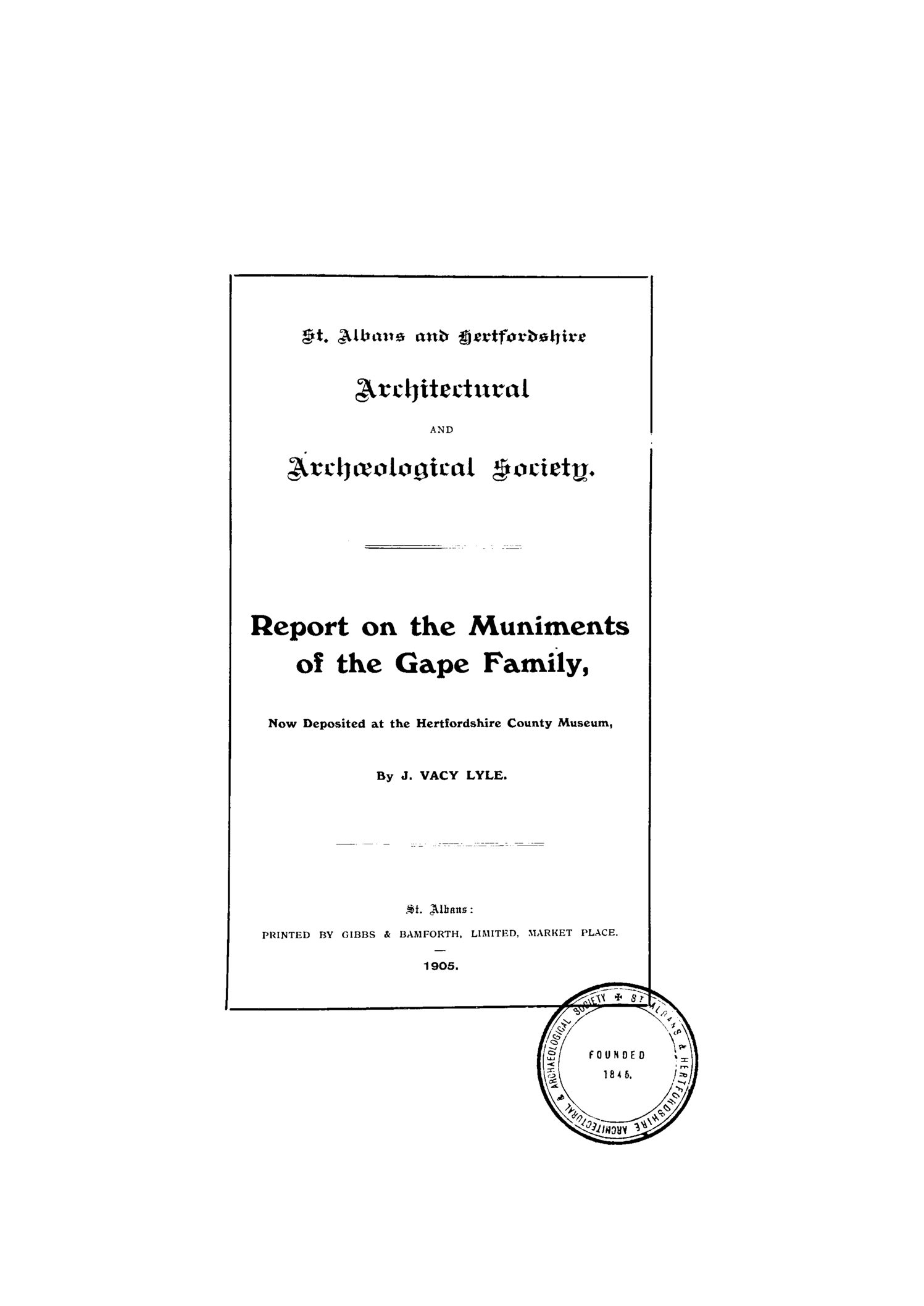 Early publications: 1905