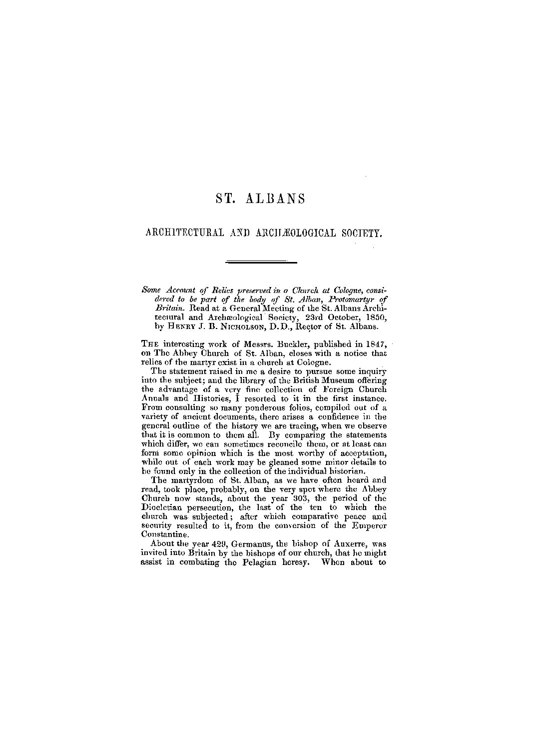 Early publications: 1850