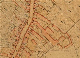 Fig.2 The Searancke brewery in Fishpool Street (marked as 264; Lower Red Lion is 247) | Abbey parish map 1818, reproduced courtesy of the Cathedral & Abbey Church of St Alban