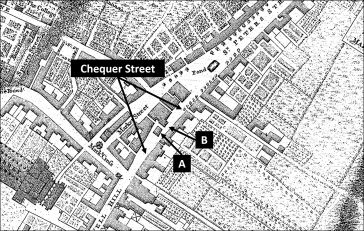 Map of St Albans showing location of Chequer Street and the two blockages (based on Andrews & Wren map, 1766) | SAHAAS Library