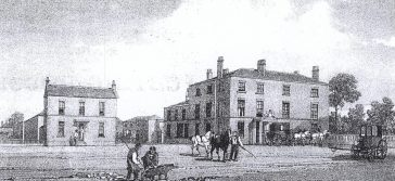 Fig. 2: Verulam Arms, St Albans c.1830; inn on the right, tap on the left | St Albans Library