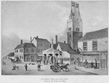 Sutherland's view of the Clock Tower and water pump, c.1812 | St Albans Museums