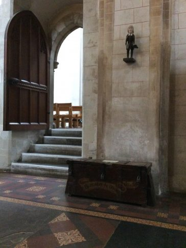 The parish poor box has stood in the Abbey church since the 1650s. It was broken into in 1817 and the parish clerk Thomas Brown – a shoemaker - was accused of stealing the padlocks but was found not guilty.   SAHAAS