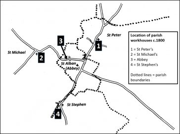 Map showing the location of the four St Albans parish workhouses – Abbey, St Michael's, St Peter's and St Stephen's.  | SAHAAS