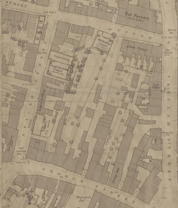 Ordnance Survey map of 1879 showing Emma's Buildings in Spicer Street, containing 23 tenements. | SAHAAS