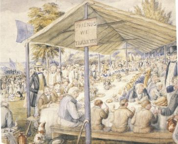 J.H. Buckingham's watercolour 'The Workhouse Treat', c. 1856, with inmates dressed in blue looking surprisingly well fed. | With thanks to St. Alban's Museums