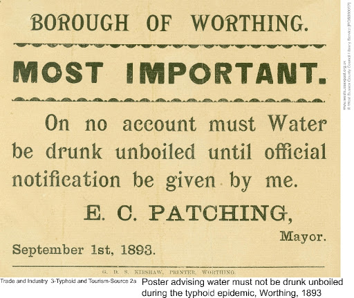 Public health poster in Worthing during typhoid outbreak in 1893 | West Sussex County Council
