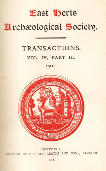 Front cover of Transactions of the East Hertfordshire Archaeological Society (1911)  | East Hertfordshire Archaeological Society