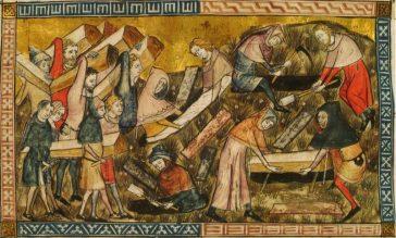 The people of Tournai bury victims of the Black Death. Miniature by Pierart dou Tielt illustrating the Tractatus quartus bu Gilles li Muisit (Tournai, c. 1353). | Public Domain {{PD-US}}.