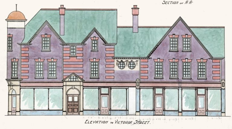 Elevation of buildings in Victoria Street designed by Percival Blow. This is from the existing SAHAAS Library collection but not in the recent acquisition. | SAHAAS