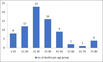 Fig. 2: Deaths from Influenza per age group. (October to December 1918) | Sheila Green (Source: Medical Officer of Health Report for 1918 )