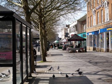 The pigeons outnumber the shoppers at the Saturday market in St Albans during the Covid-19 outbreak | Malcolm Merrick