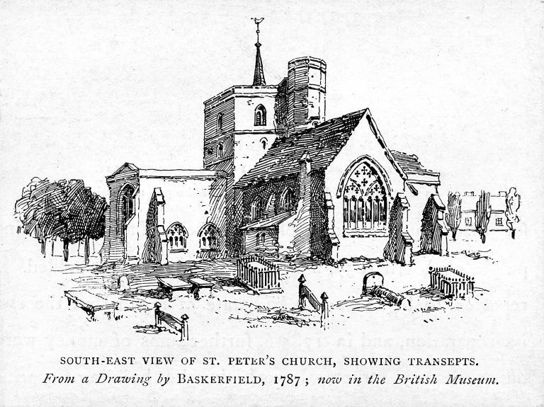 A view of St Peter's church in 1787 | Source: C.H. Ashdown, St Albans Historical & Picturesque (London. 1893), p.221.