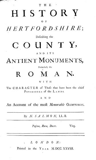 Frontispiece of Nathaniel Salmon's history of Hertfordshire | SAHAAS